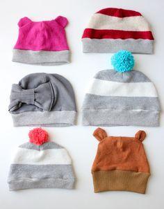 Cucire cappello per bambini da riciclo maglioni - Tutorial e Cartamodello. c322a4692609