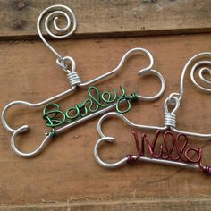 Christmas ornament for dogs and dog lovers: Handmade wire dog bone Christmas ornament personalized with your dog's name . at Zazzle Christmas Gifts For Pets, Dog Christmas Ornaments, Christmas Crafts, Christmas Presents, Red Christmas, Christmas Decorations, Holiday Decorating, Dog Decorations, Christmas Ideas