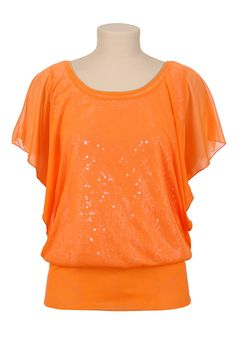 Banded Bottom Sequin Chiffon Top available at #Maurices