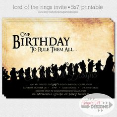 Lord of the Rings Inspired Invitation, The Hobbit Inspired Invitation - 5x7 Printable on Etsy, $13.23 AUD