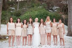 Pick a similar color tone and stick with colors in that family. Play with different shades, cuts, and textures to pick a winning line-up of dresses. This bride selected gorgeous champagne dresses and also pulled in some sequins and shimmer. All of this sparkle adds to the chic elegance of a winter wedding. | Mismatched Winter Bridesmaid Dresses