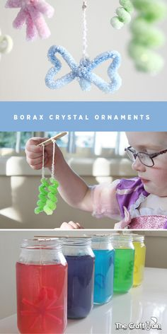 Making Borax Crystal Ornaments with pipe cleaners. Making Borax crystals is really fun, and the pipe cleaners allow you to make different shapes. Borax Crystal Ornaments, Borax Crystals, Ice Crystals, All Things Christmas, Kids Christmas, Christmas Projects For Kids, Xmas, Science For Kids, Art For Kids