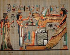 12x16 Papyrus Art - Egyptian Hand Painted Signed Genuine Papyrus Painting - Pharaonic Vintage Collectible - Home/Office Decor (PAP1216-003)