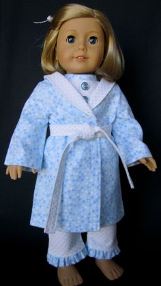 RESERVED for Gail - Pajama and Robe Set in Blue and White Flannel eb215f850