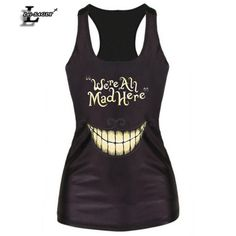 We're All Mad Here Black Digital Printed Punk Tank Tops Fitness Women Fashion Vest Female Sexy Elastic  Camisoles F60 #Discount #Clothing