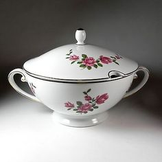 Tirschenreuth Covered Soup Tureen Pink Rose Pattern w Lid Gold