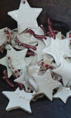 Clay Christmas decorations  With ribbons.