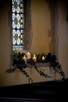 Winter Wedding candles   LEDGES, END STONE SECTION IN MAIN HALL AND IDEA FOR THE RUSTIC FEEL / LOOK