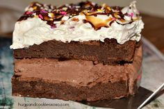 Double Decker Brownie Ice Cream Cake - Hugs and Cookies XOXO