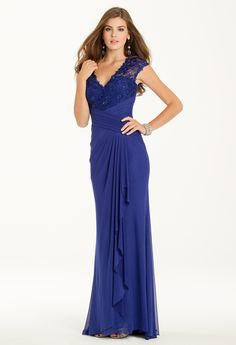 Power Mesh Lace Dress with Drape from Camille La Vie and Group USA