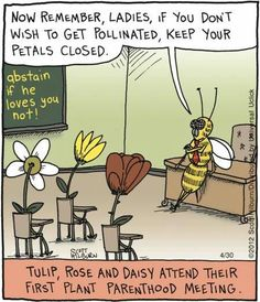 """Now remember ladies, if you don't wish to get pollinated, keep your petals closed."" Tulip, Rose and Daisy attend their first plant parenthood meeting."
