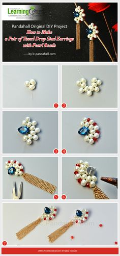Pandahall Original DIY Project - How to Make a Pair of Tassel Drop Stud Earrings with Pearl Beads from LC.Pandahall.com