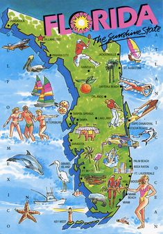 How come only whites can have fun? Florida map - we have been to St Augustine and Daytona Beach! Loved the beach and the NASCAR race. Florida Girl, Florida Living, Old Florida, Vintage Florida, South Florida, Florida Maps, Visit Florida, Florida Tourism, Florida Travel