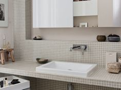Une salle d'eau féminine : Salle de bains avec mosaïque : 10 exemples réussis - Journal des Femmes Décoration