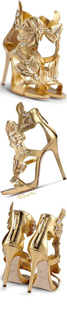 Giuseppe Zanotti Fall 2015 Embellished Gold Sandals ♔Très Haute Diva♔
