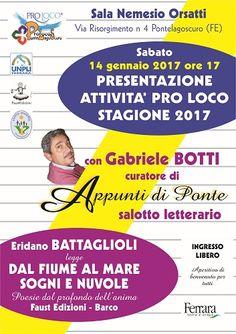 La Pro Loco di Pontelagoscuro presenta il calendario delle iniziative 2017 e Appunti di Ponte