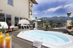 Outdoor whirlpool 2012 with mountain panorama view - Famous Last Words Spa, Famous Last Words, Massage, Outdoor Decor, Mountain, Blog, Home Decor, Terrace, Air Fresh