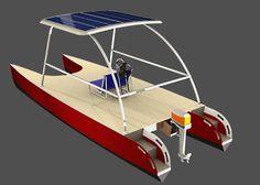 Plywood cored fiberglass Catamaran