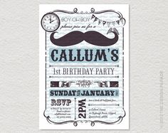 PRINTABLE Tash / Moustache Party Invitation by TheDesignParade. , via Etsy.