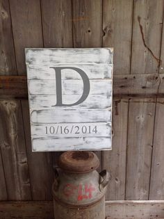 Established Sign, Family Sign, Rustic Sign, Rustic Decor, Rustic Wedding, Sign with Initial & Date, Measures 20X25, sign, wood sign, custom by SimplyMadeDesignsbyb on Etsy