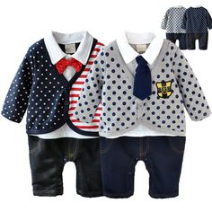 Baby rompers for 0-1 years old cotton fabric infant tie clothes jumpuist gentleman coveralls newborn baby boy clothing