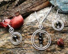 Colgantes y pendientes de alambre de cobre plateado con Perla