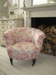 19th century French armchair covered in Cabbages and Roses Paris Rose fabric