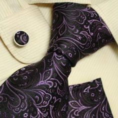 Black tie designer for men Purple Paisleys boyfriend gift Italian style ties cufflinks set H5116