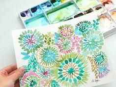 Watercolor sunburst florals by Elise Engh