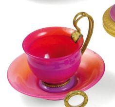 Blenko Glass, Opaline, Pigeon, Tea Cups, Bronze, Tableware, Dinnerware, Tablewares, Dishes