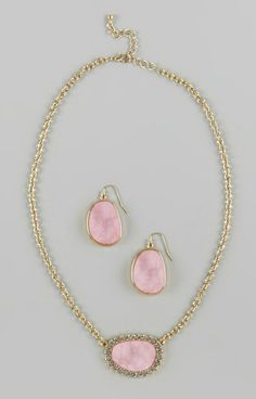 Pink Rhinestone Drop Earrings & Pendant Necklace