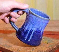 Cup ceramic coffee mug  small glazed in blue  by hughespottery, $20.00