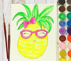 Your the Pine•Apple of my Eye This morning is filled with bright and colorful #watercolor doodles! What are you up to this morning?