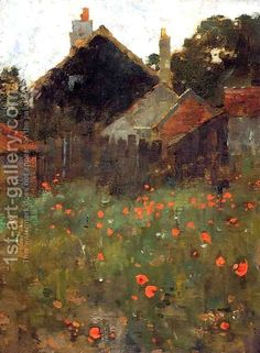 """The Poppy Field, byWillard Metcalf, like the subject and the way the poppies 'pop"""" from the surrounding dark values.diffrent from the normal impressionist field of poppies Landscape Art, Landscape Paintings, Landscapes, Impressionist Paintings, Wow Art, Paintings I Love, Painting Styles, Flower Paintings, Painting Videos"""