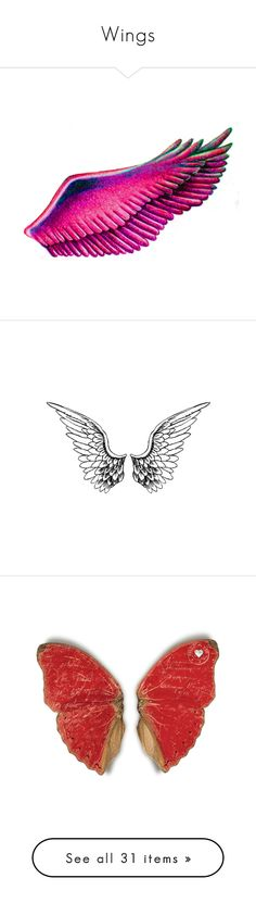 """Wings"" by jazzymiranda ❤ liked on Polyvore featuring wings, backgrounds, fillers, pink, extras, butterflies, filler, drawings, doodles and text"
