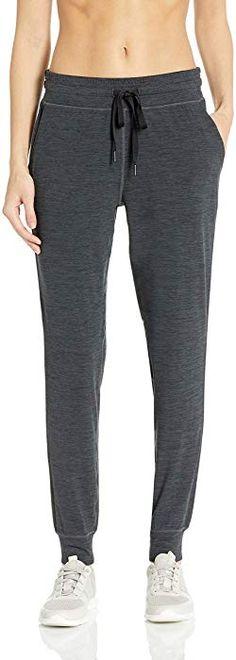 87744e24a50391 Amazon.com: Amazon Essentials Women's Brushed Tech Stretch Jogger Pant,  Black Spacedye,