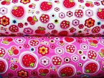 Stoff  SB0304 Stoffpaket Erdbeeren rosa