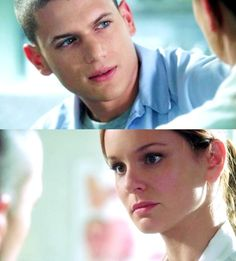 Wentworth Miller and Sarah Wayne Callies as Michael and Sarah in Prison Break Fox River 8, Sara Tancredi, Wentworth Miller Prison Break, Michael And Sara, Broken Pictures, Sarah Wayne Callies, Dominic Purcell, Michael Scofield, Movies