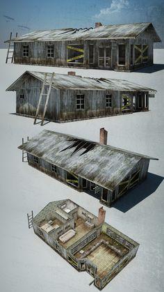 ArtStation - Houses For Abandoned Village, Pavel Pavaks Apocalypse House, Apocalypse Art, Apocalypse Character, Fallout 4 Settlement Ideas, Wasteland Weekend, Zombies, Arte Robot, 3d Mesh, Modelos 3d