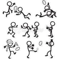 Stickfigure Aussie Rules Football Royalty Free Stock Vector Art Illustration