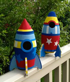 Set of TWO Space Ship Rocket Ship Birdhouse Room Decor or Outdoor Home SHIPS TODAY
