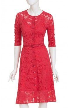 N buttons, N straighter skirt, Y lace, Y+R sleeves, Y+N neckline, N belt, R waistline