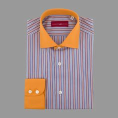Orange and blue striped shirt with an orange collar and two button cuff
