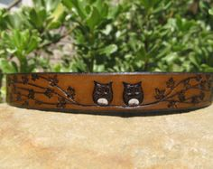 Hand Painted Toole Leather Bracelet Cuff  Black by SarahsArtistry