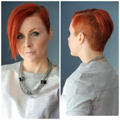 Thrift and Shout blog, new haircut, asymmetrical undercut, red hair