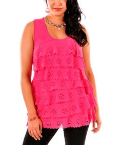 Pink Eyelet Tiered Tunic - Plus by Lily #zulily #zulilyfinds