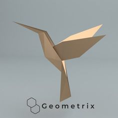 Hummingbird (Colibri) - Make your own Low poly bird on fly, Geometric bird, Paper sculpture, Papercraft bird, Hummingbird Diy 3d Crafts, Paper Crafts, Paper Glue, All Paper, Types Of Wings, Origami Lampshade, Geometric Bird, Baby Animals Super Cute, Origami Cards