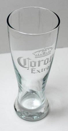 Corona Extra Beer Glass Frosted Etched With Crown Bar Style #Corona