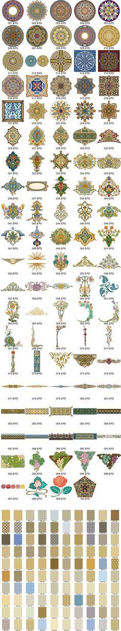 Osmalı motifleri ve desenleri vektörel çizimler