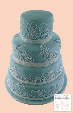 Northern Virginia Wedding Cake Tiffany Blue Hand Piped Hibiscus | Haute Cakes Pastry Shop